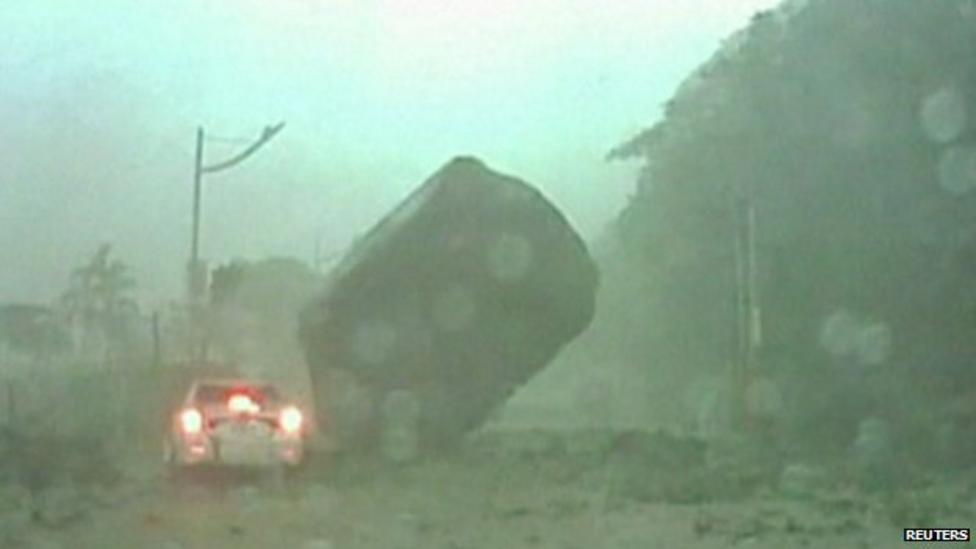Lucky landslide escape for driver