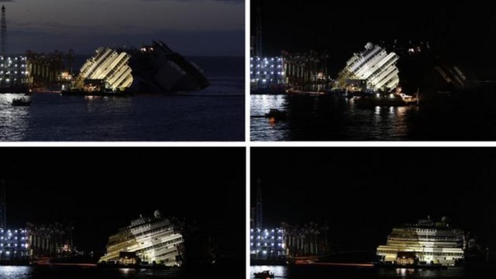 Costa Concordia salvage: Time-lapse