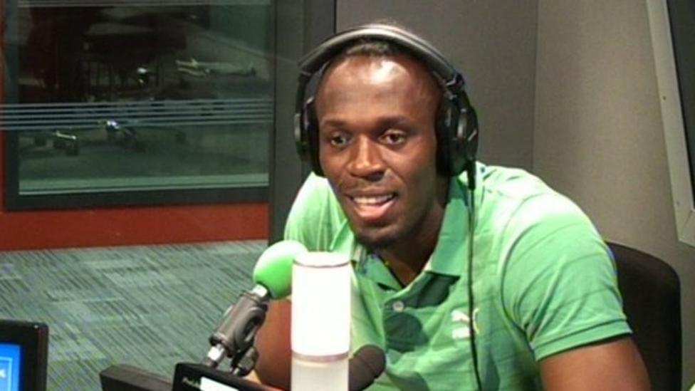 Usain Bolt sings on the radio