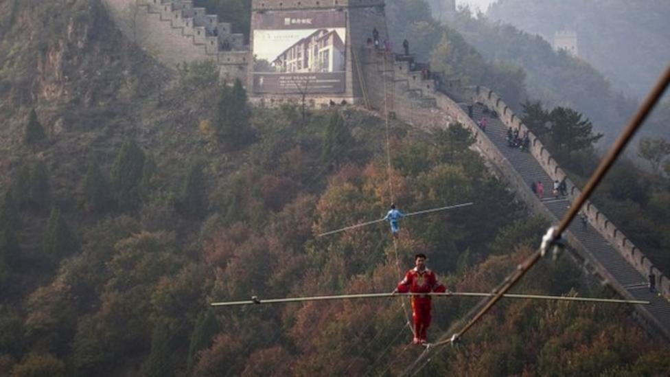 Amazing tightrope dancing in China!