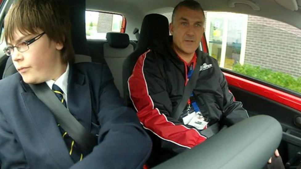 School children get driving lessons