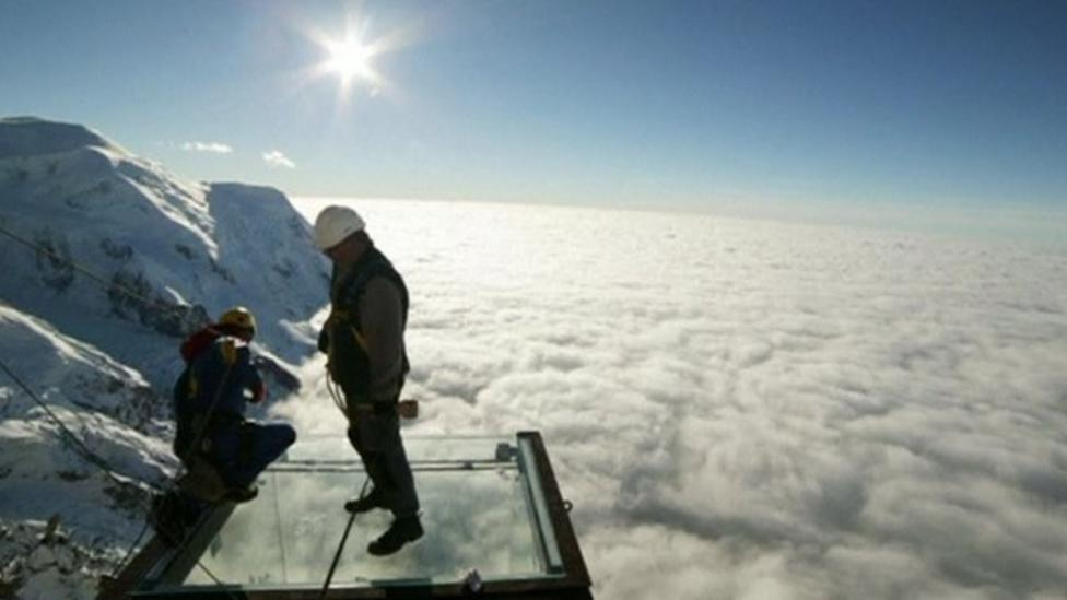 Scary but stunning view of Alps