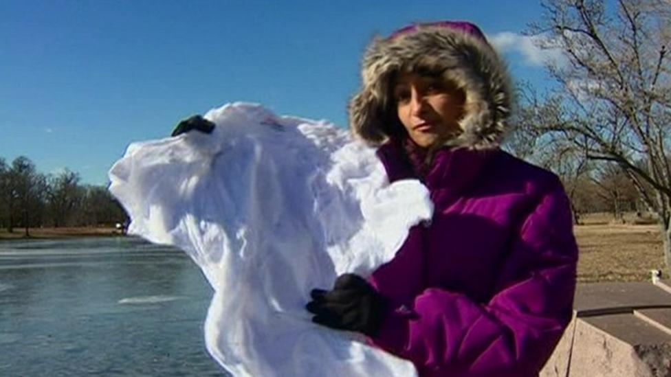 T-shirt freezes in cold US weather