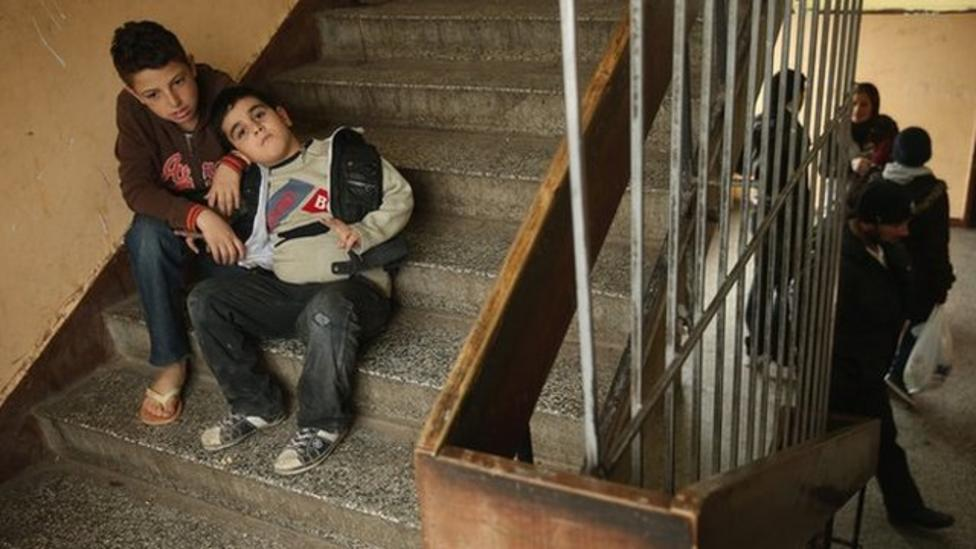 Syrian refugees living in a Bulgarian school