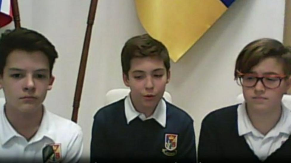 Pupils in Kiev school talk about life in the city