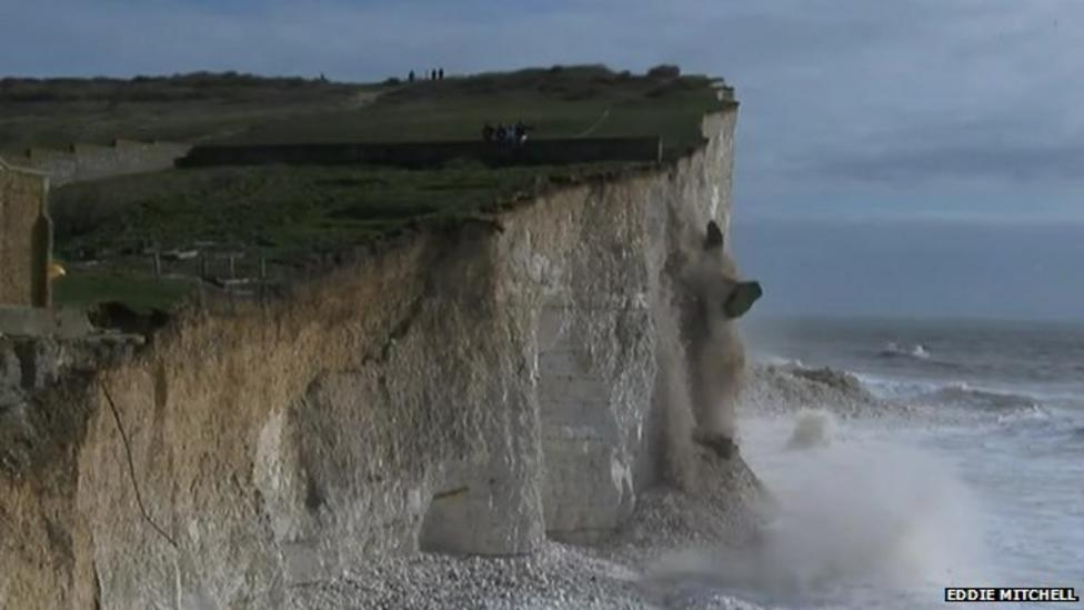 Cliff falls into sea in East Sussex