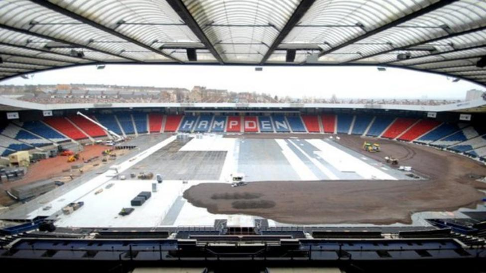 Watch: Hampden pitch becomes athletics track