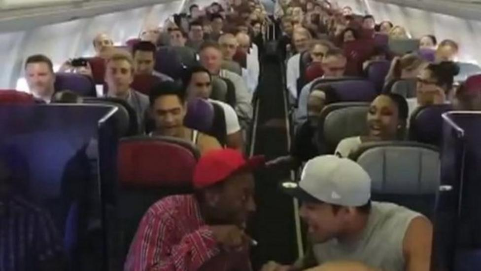Lion King cast sing on plane