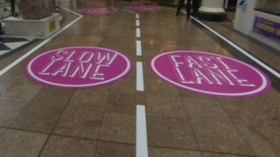 Shopping centre gets slow lane-fast lane system