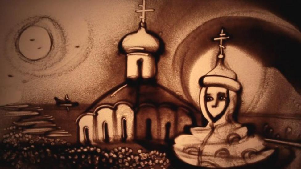 Crimean artists' sand pictures