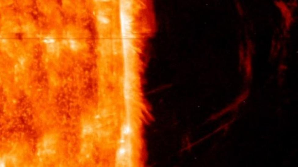 Rare view of huge eruption on the Sun