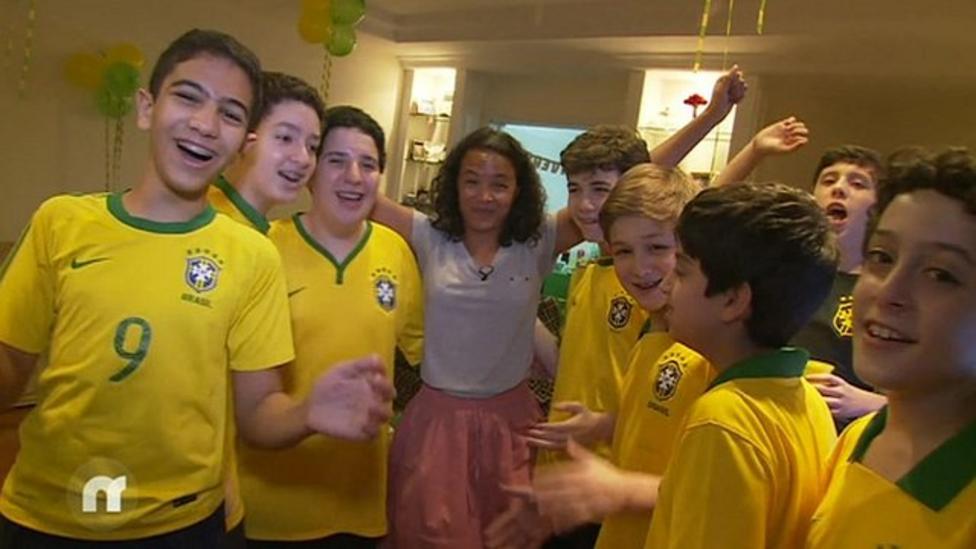 Leah meets young Brazil fans