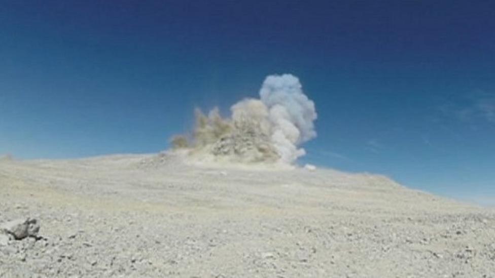 Mountain blast for large telescope