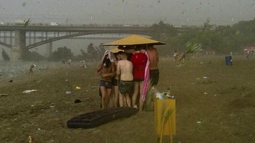 Hailstorm hits Russian beach