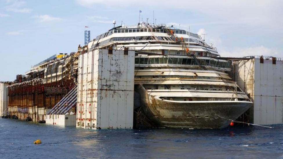 Costa Concordia wreck on the move
