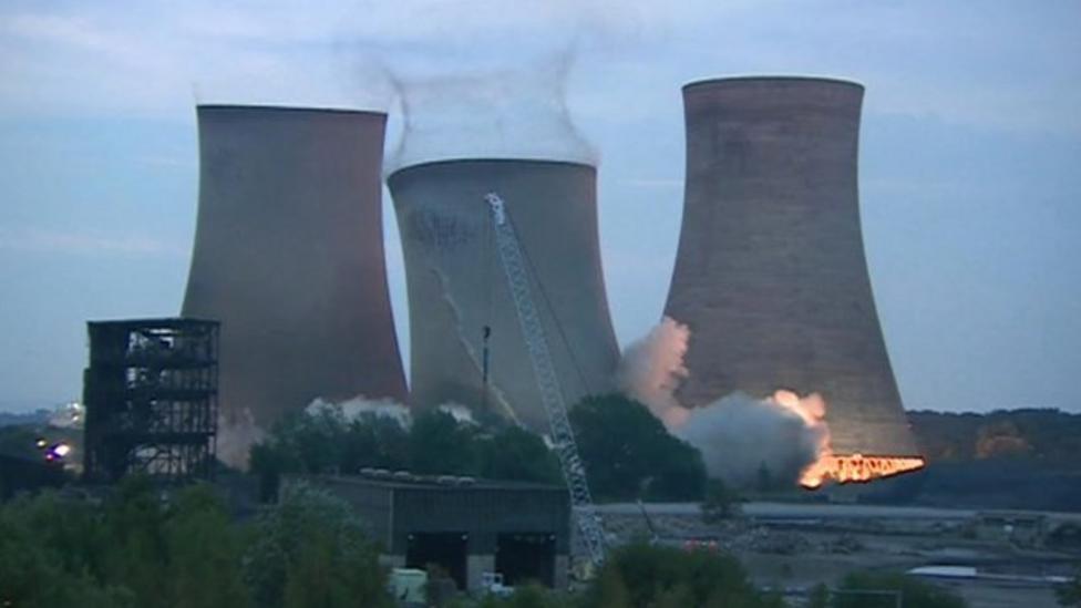 Massive power station towers demolished