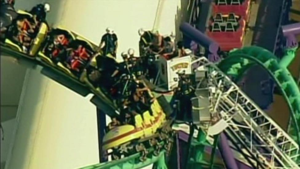 Rollercoaster gets stuck mid-ride