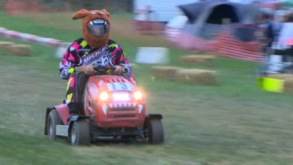 High-speed 12-hour lawnmower race