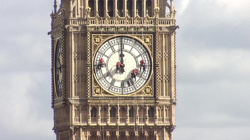 'Big Ben' clock tower gets cleaned