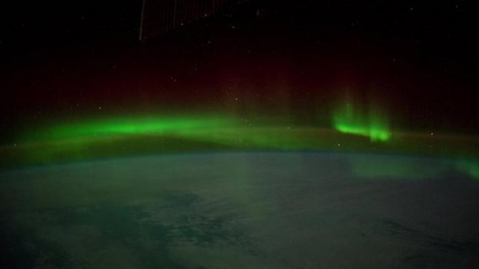 Aurora Australis filmed from space