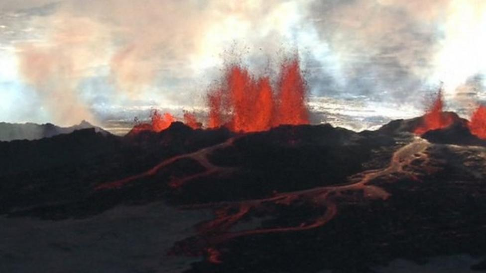 Volcano continues fiery eruption