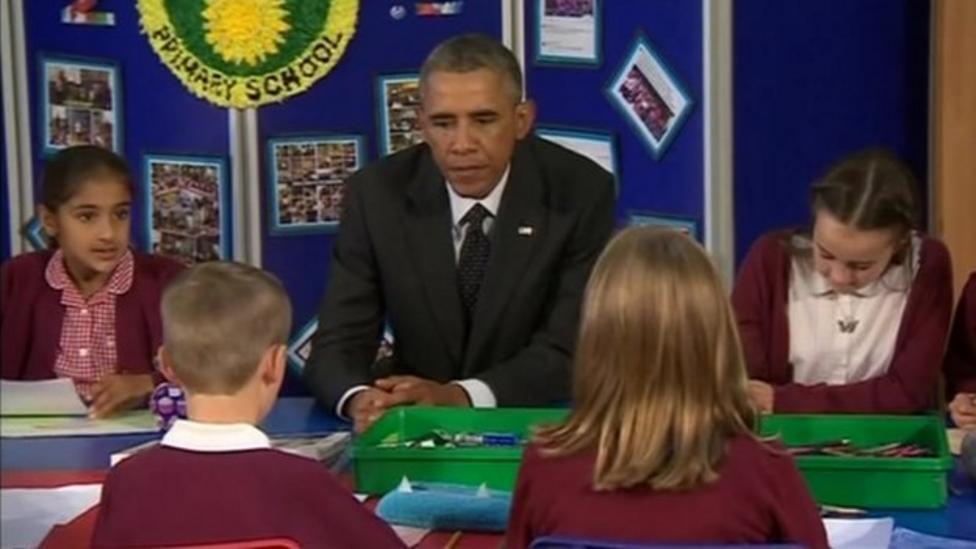 President Obama goes back to school