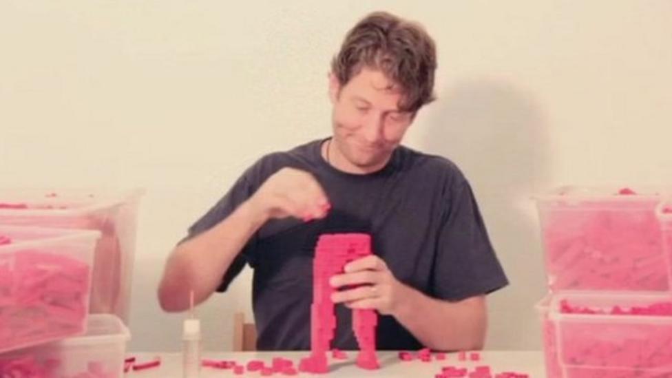Artist creates sculptures using Lego