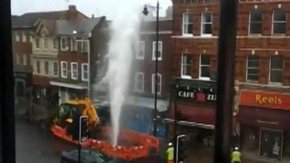 Burst pipe makes water shoot