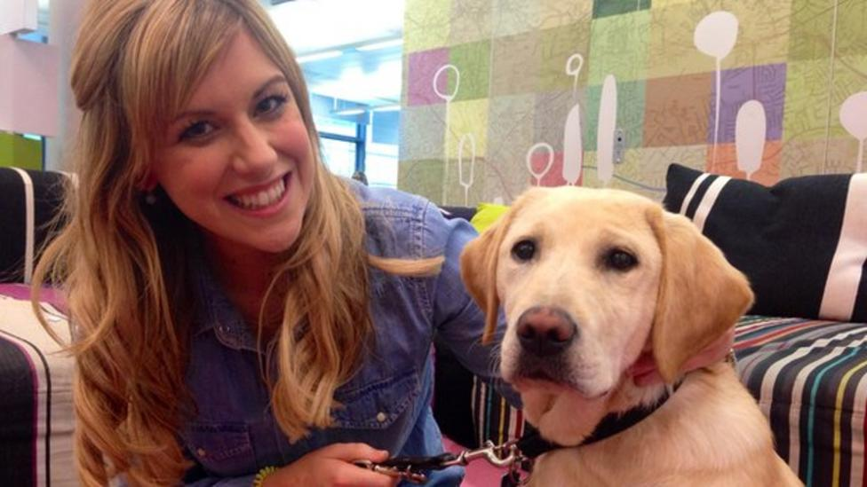 Jenny meets Blue Peter guide dog