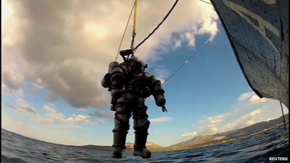 Watch: Robot dive suit looks for shipwreck