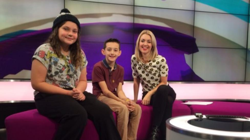 Two young carers chat to Hayley