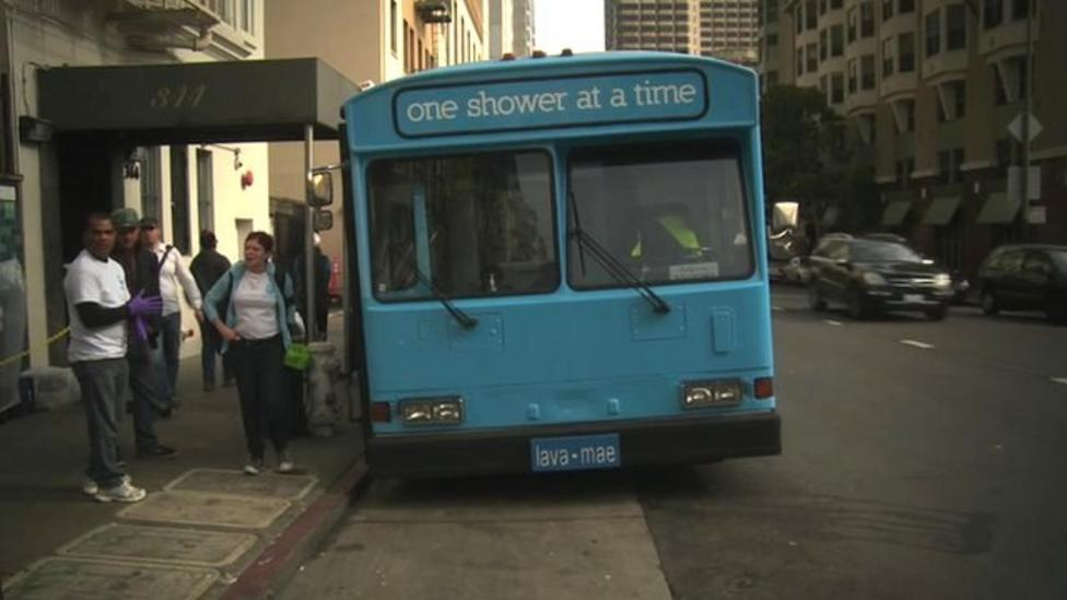 The bus where homeless people shower