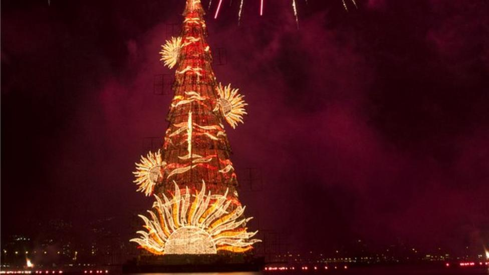Giant floating Christmas tree