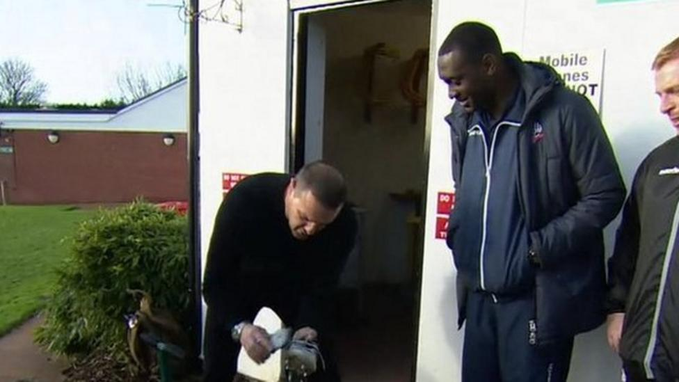 Comedian cleans Heskey's footy boots