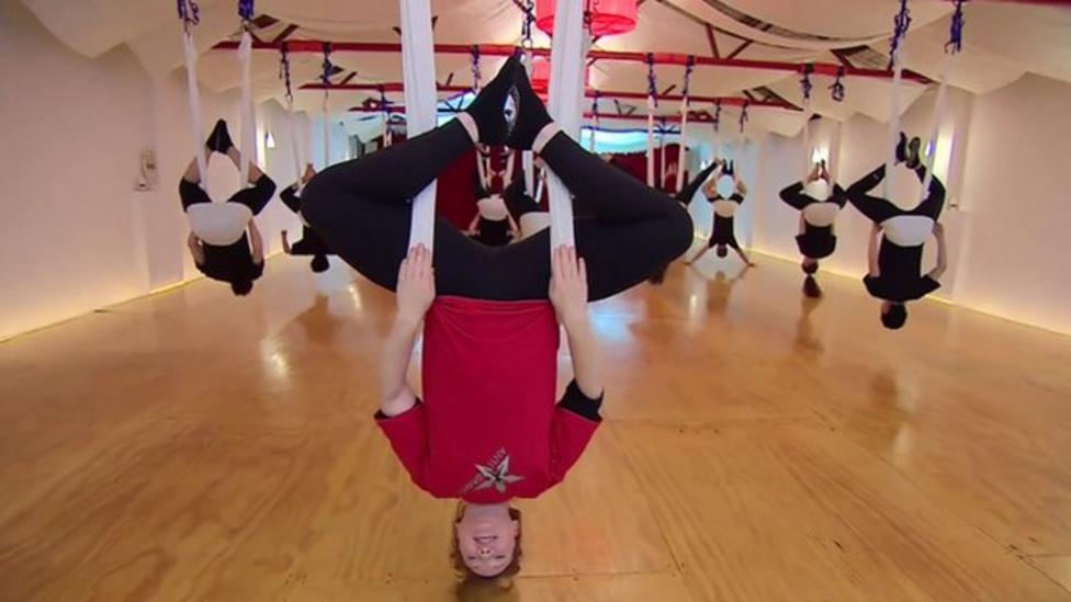 Anti-gravity yoga takes off in Australia