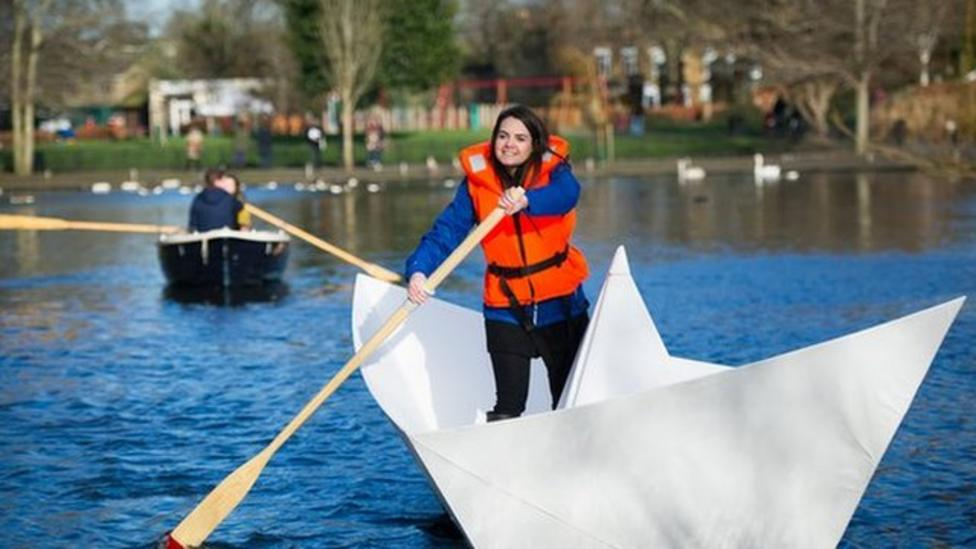 Giant paper boat launched on lake