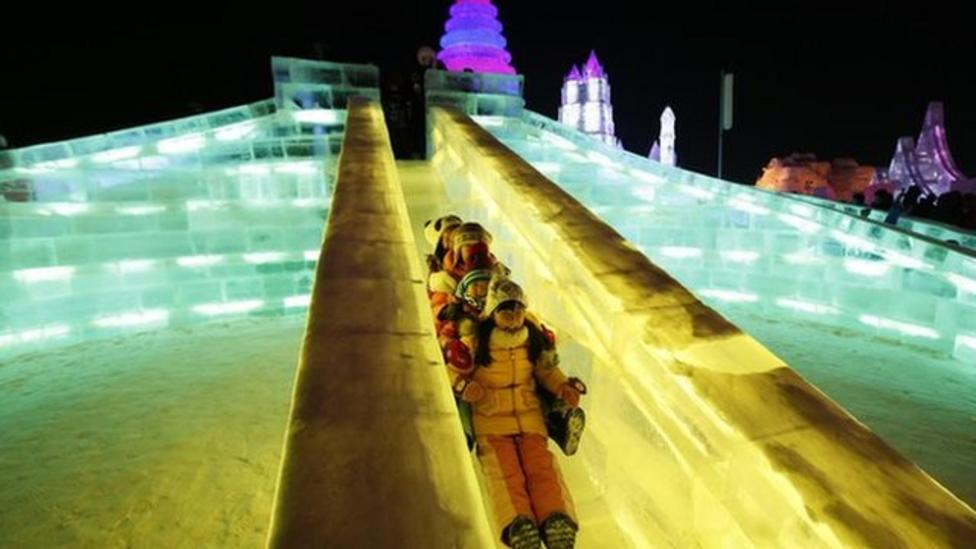Ice slide is big hit in China
