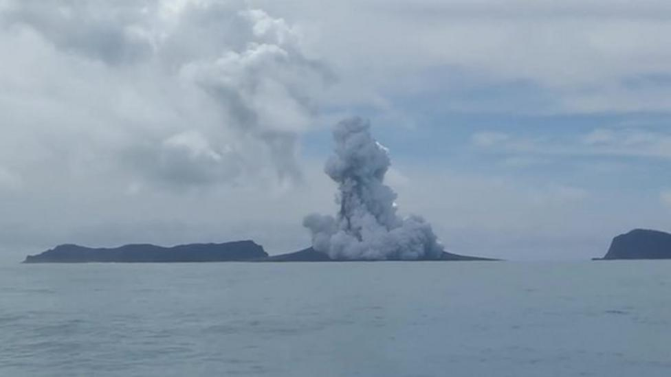 Volcano eruption creates new island