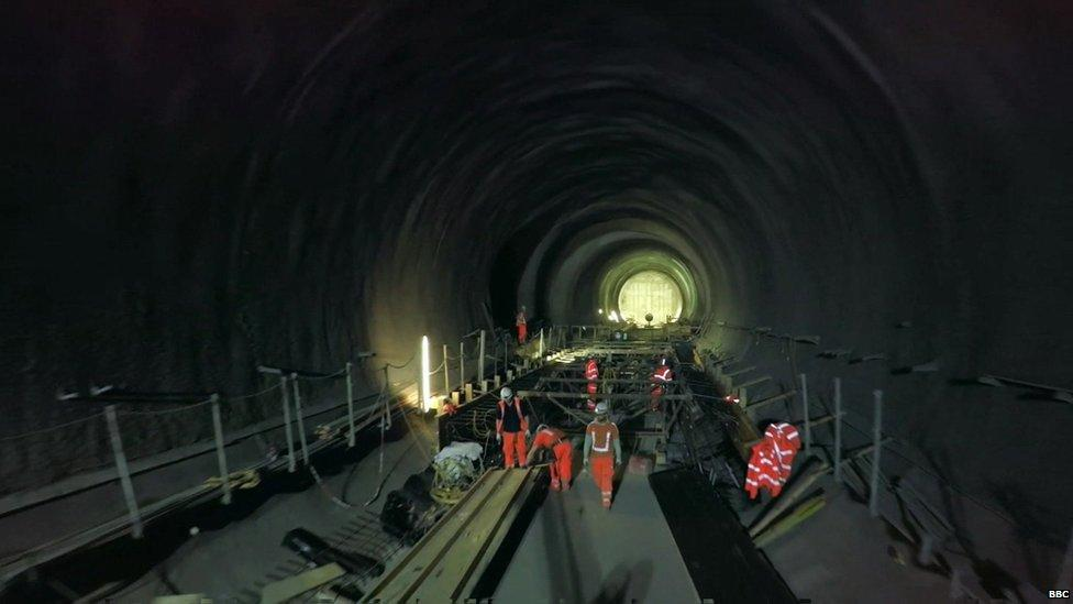 Drone's view of Crossrail tunnel