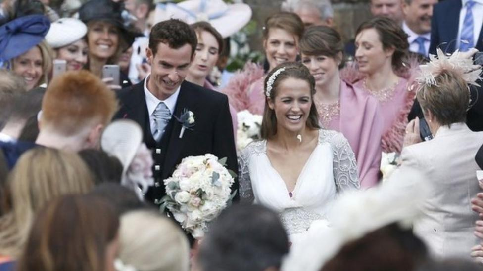 Confetti for Murray and his bride