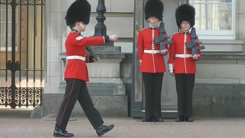 Royal guard takes a tumble