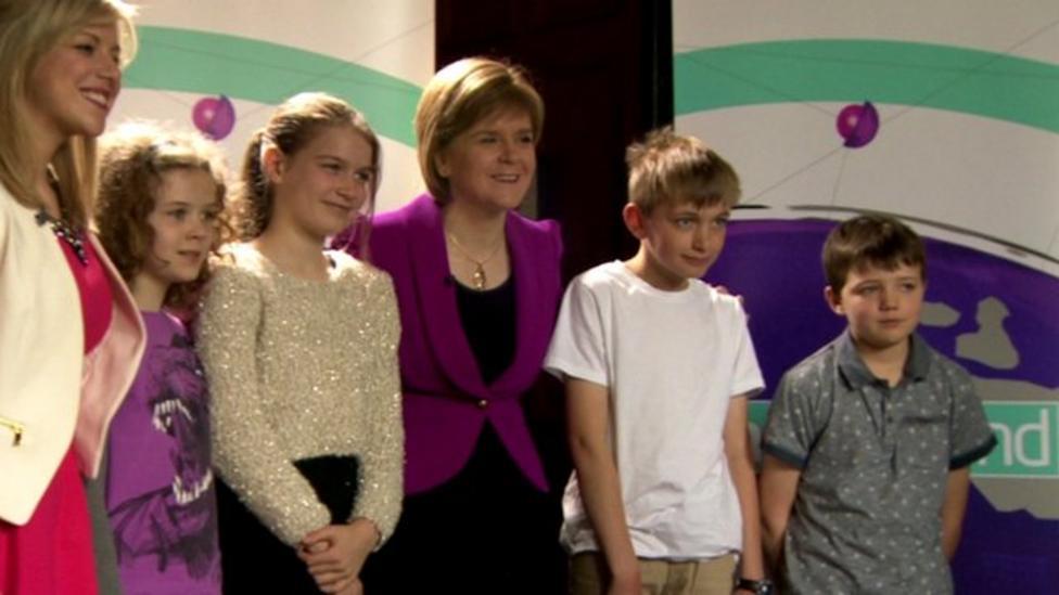 Kids test SNP leader Nicola Sturgeon