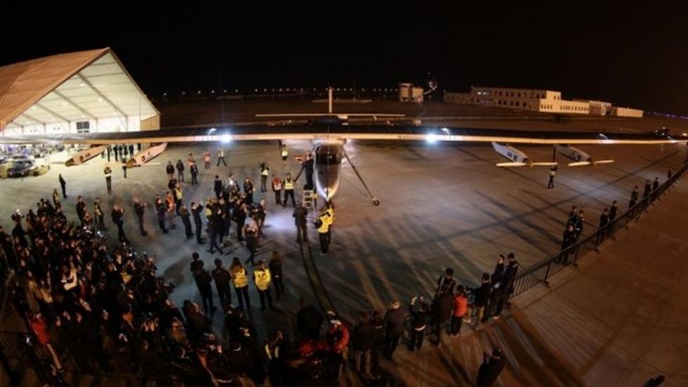 Solar plane lands in Nanjing, China