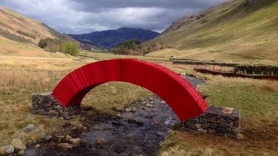 Paper bridge built in Lake District