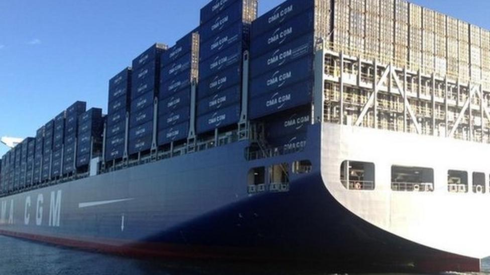 Largest British container ship docks in UK