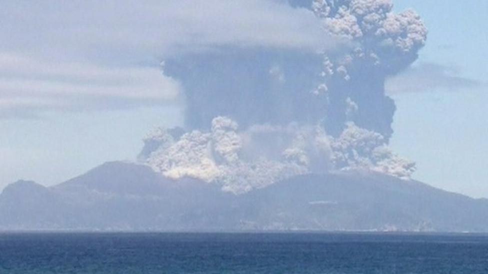 Volcano erupts on Japanese island