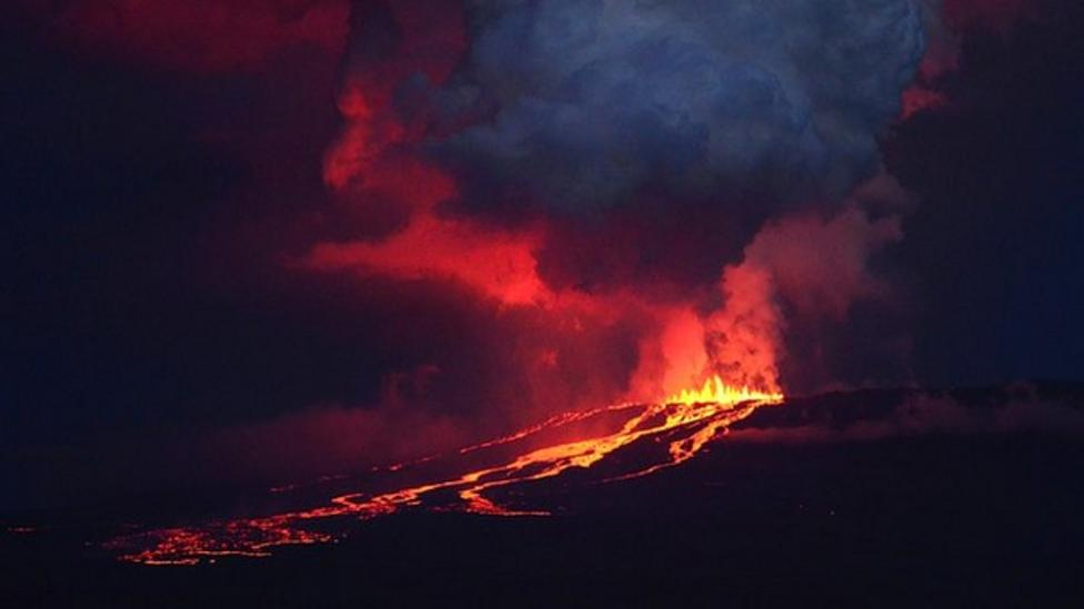 Amazing night-time volcano eruption