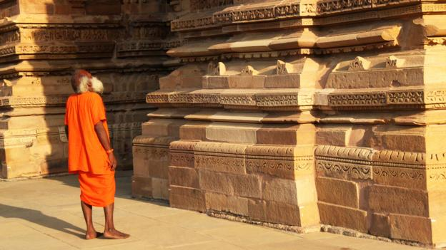 A visitor stops to admire the carvings (Credit: Credit: Charukesi Ramadurai)