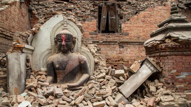 A collapsed temple in the Unesco World Heritage site of Bhaktapur, Nepal