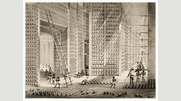 Stacks of opium balls at the Company's opium factory